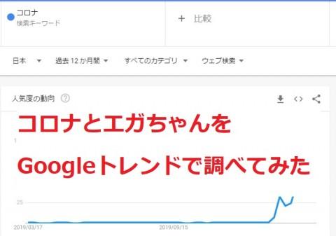 「コロナウィルス」と「エガチャンネル」Googleトレンドで検索動向を調べてみた